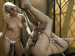 Blonde busty mistress enjoys time with her friends torturing man sex slave bound in ropes