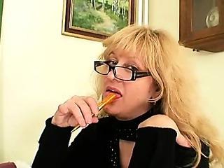 Porno Video of Busty Milf Teacher Fucks Herself With A Dildo