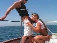 Rita Faltoyano on a boat