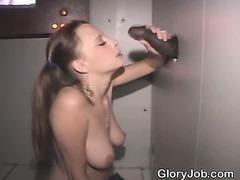 White Girl Sucks Big Black Dick At A Glory Hole