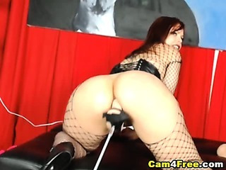 Porno Video of Fishnet Babe Fucked By Dildo Fucking Machine Hd