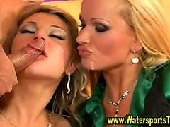 Piss guzzling hotties get soaked