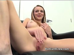 Skinny first timer interview strip then deepthroating a cock