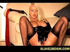Horny blonde fetish vixen masturbates