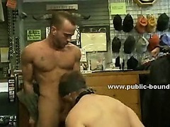 Gay hunk gets blindfolded and taken to surprise party and gifted to boys in bondage gangbang sex