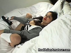 Another Asian schoolgirl pussy fingered