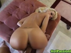 Watch sexy blonde babe get a facial