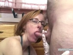 Slutty Layla in an apron and sucking some dick
