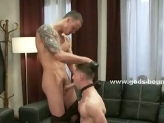 Man in leather discovers his gay side in bondage gay sex and hard spanking with payed stud