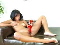 black woman with red vibrator