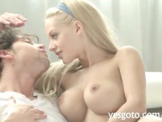 Porn Tube of Sizzling Blonde Hot Babe Loulou Shaved Pussy Pounded Sideways