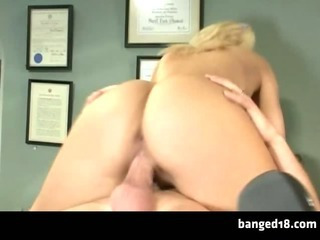 Porn Tube of Smoking Hot Blonde Starts Working Hardcore For Her Grades