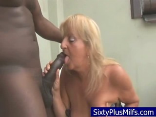 Porn Tube of Dirty Old Granny Sucking  A Huge Black Dick