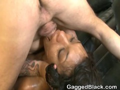 Black Slut Gets Throat Humped By White Dude