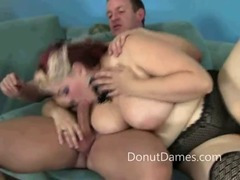 Chubby girl in makeup enjoys sucking on a cock