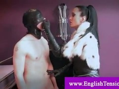 Sex slave bitch gets his nipples tortured and licks dominatrix boots