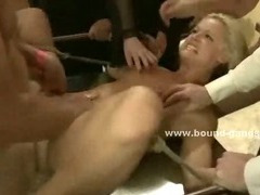 Blonde skinny babe gets blindfolded and smahed in gangbang sex abuse with violent men