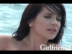 Hot bikini wearing teen girl Kylie Sky twat banged on the boat