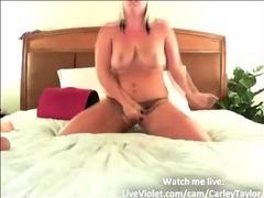 Hot curvy blonde masturbates for 100 guys