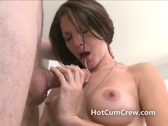 Very sexy brunette sucks dick once naked and she has a beautiful pussy