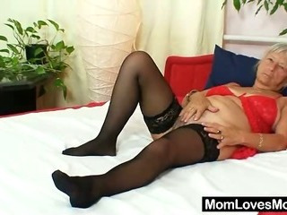 Porno Video of Ugly Grandma Cecilie Toys Her  Hairy Pussy