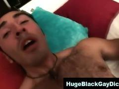 Black cock fucks hairy twink