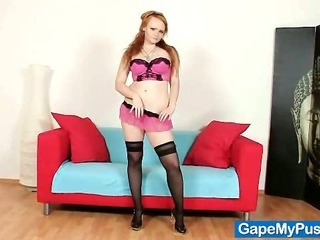 Porno Video of Redhead Babe Samantha Pussy Gaping Tool