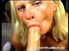 Blonde old bitch sucking for cum