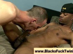 Twink gets fucked anally by big black guy