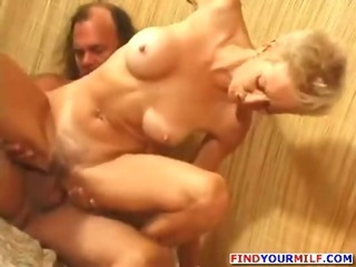 Porn Tube of Hairy Slim Mature Woman Fucked Hard
