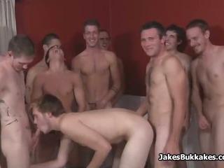 Porn Tube of White Guys Bareback Bukkake Party