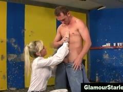 Classy fetish messy babe sucks on cock