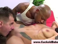 Nasty brunette gets fucked in front of her man