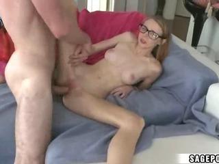 Porno Video of Nerdy Girl Swallows Cum