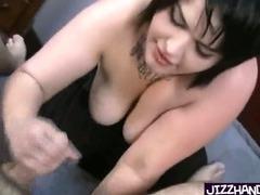 Chubby Goth Girl Handjob