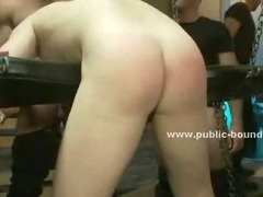 Cop making a hard time for gay boys in rest room is smashed and undressed by force in group sex