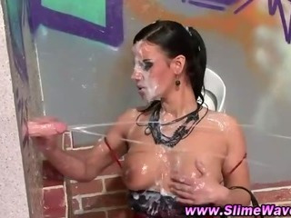 Porno Video of Brunette Gets Herself Cleaned Up In The Toilet After A Good Session