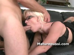Young cock slides inside the mouth of a sexy milf