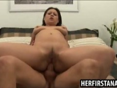 Brunettes first porno is anal sex