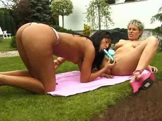 Porn Tube of Backyard Lesbians Love Their Toys