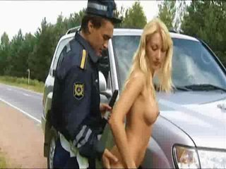 Porn Tube of Hot Russian Blonde Teases Cop