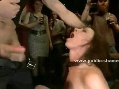 Blonde whore dressed with mini clothes humiliated in public naked and fucked outdoor
