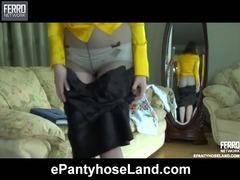 Clara in pantyhose action