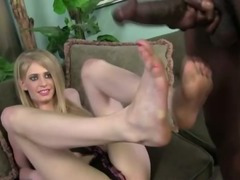 Ebony guys get a footjob from babe who is good with her feet