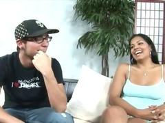 Sexy girl giving her boyfriend nice blowjob