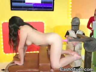 Porn Tube of Brunette Gets Pussy Pounded By Machine During Cash Stunt