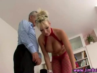 Porno Video of Busty Whore Screws Old Cock