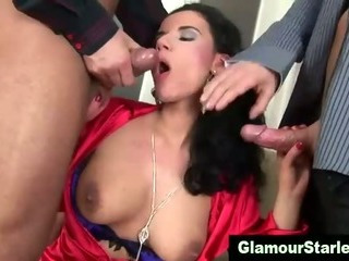 Porn Tube of Glamorous Whore Spit Roasted