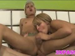 Threesome bisex action