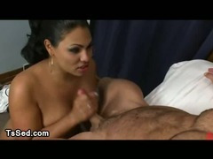 Busty tranny fucked in threesome by two guys